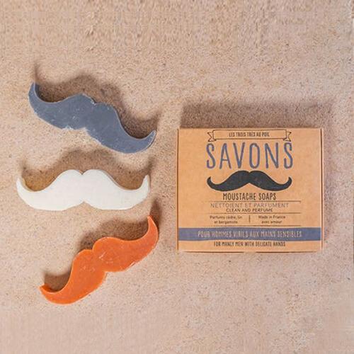 3 Savons moustache  - cèdre - lin - bergamote